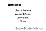 DAN010 Plastic beams 250x0.5 mm, 10 pcs