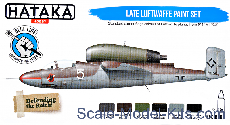 Late Luftwaffe paint set, 6 pcs