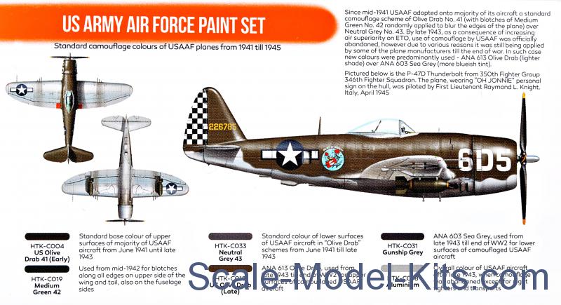 Hataka Hobby - US Army Air Force paint set, 6 pcs - plastic scale