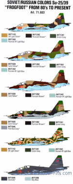 "Paint Set Air Soviet/Russian colors Su-25/39 ""Frogfoot"" from 80's to present, 8 pcs"